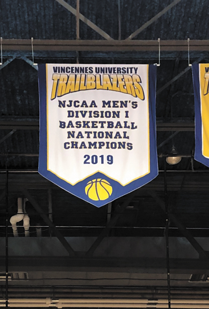 The 2019 NJCAA championship banner