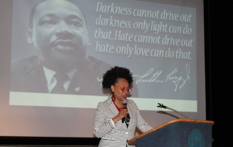 A keynote speaker addresses the crowd during the MLK Banquet.