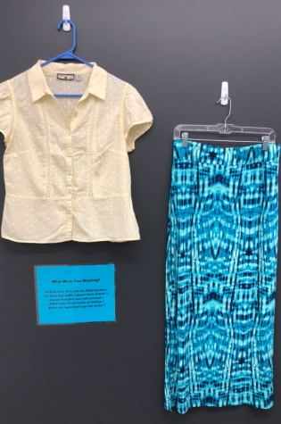 "A display from the ""What Were You Wearing?"" installation in the  Learning Resource Center."