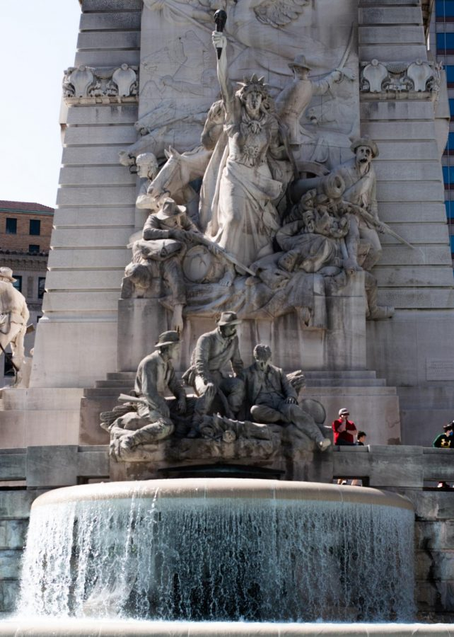 Monument Circle in Indianapolis is a popular outdoor spot in warmer weather.